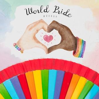 Vista superior das cores do arco-íris por orgulho