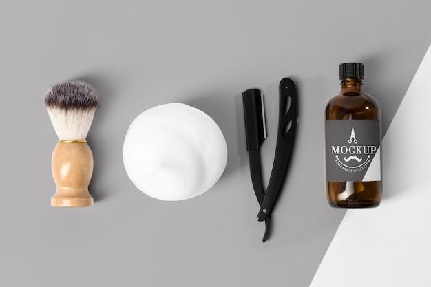 Vista superior das ferramentas de barbearia