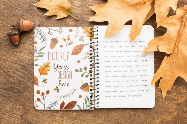 Vista superior das folhas caem e caderno