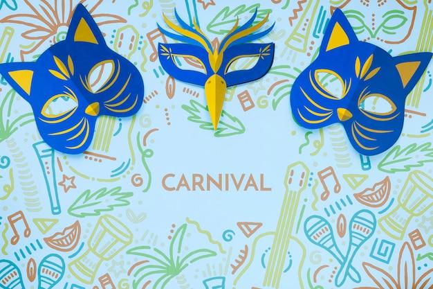 Vista superior das máscaras de gato de carnaval brasileiro