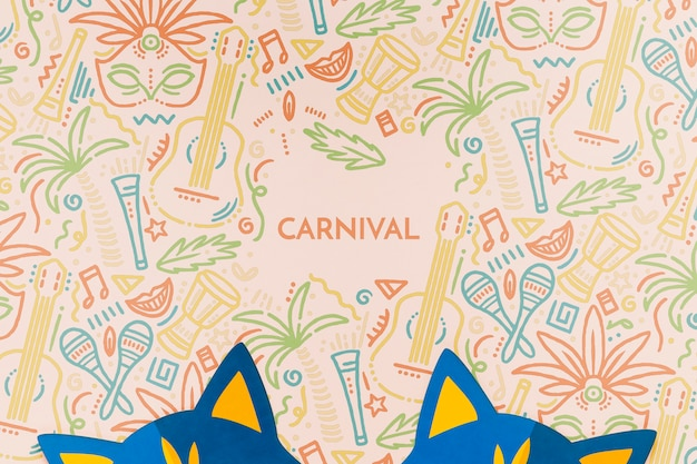 Vista superior das máscaras de gato de carnaval