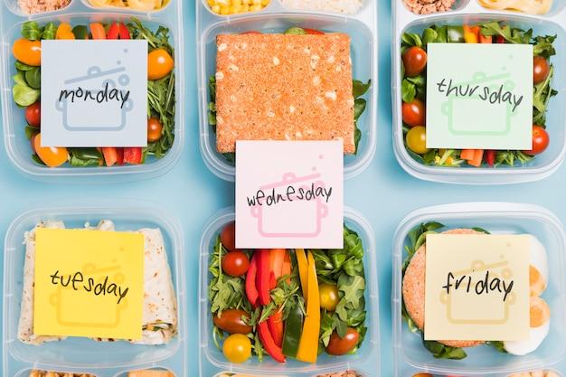 Vista superior das refeições planejadas para nutrição