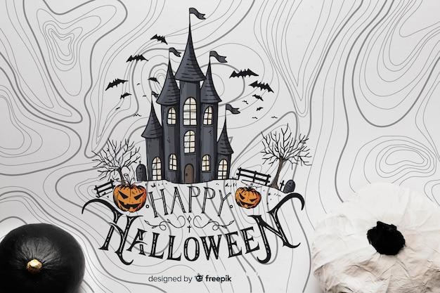 Vista superior de abóboras com castelo de halloween