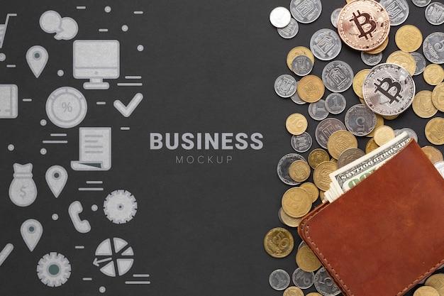 Vista superior de criptomoeda e dinheiro