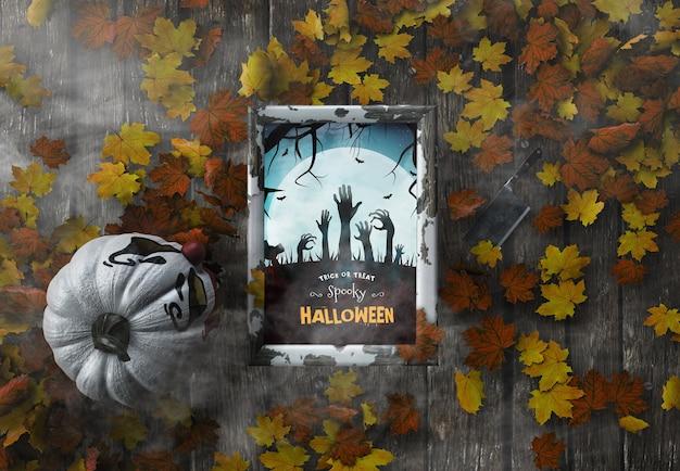 Vista superior de doces ou travessuras quadro assustador de halloween com folhas secas