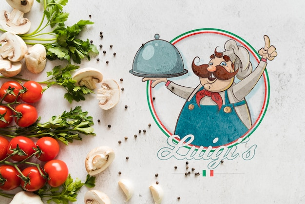 Vista superior de ingredientes de comida italiana com logotipo