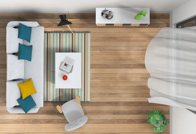Vista superior, de, interior, sala de estar