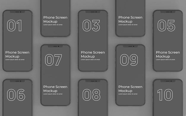 Vista superior de maquete de telas de telefone preto