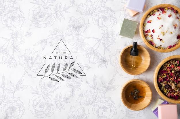Vista superior de produtos para a pele