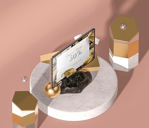 Vista superior de tablet digital de maquete 3d