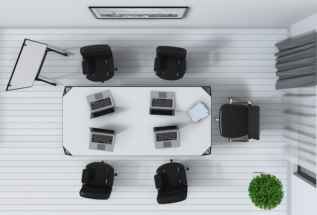Vista superior de um interior de escritório de sala de conferência. renderização em 3d.