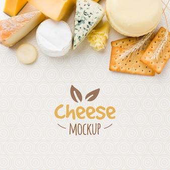 Vista superior de uma variedade de mock-up de queijo cultivado localmente