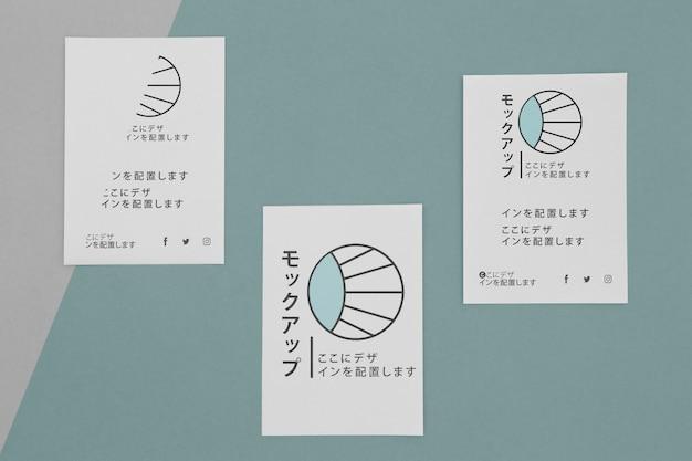 Vista superior de vários documentos de mock-up japoneses