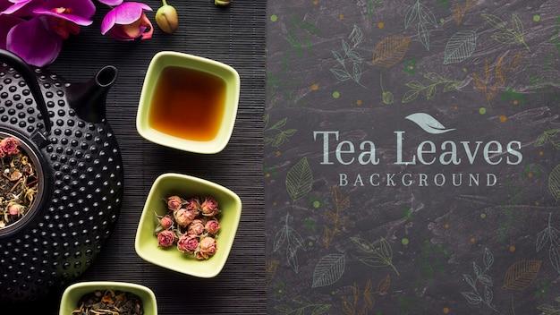 Vista superior delicioso chá folhas fundo
