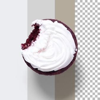 Vista superior delicioso cupcake caseiro isolado