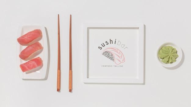 Vista superior delicioso sushi