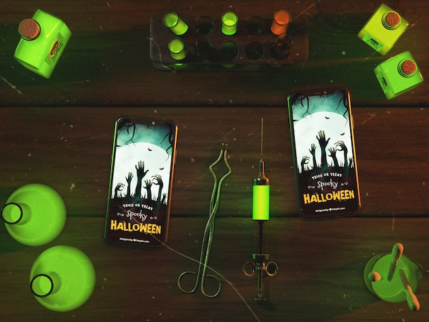 Vista superior do arranjo de halloween com smartphones