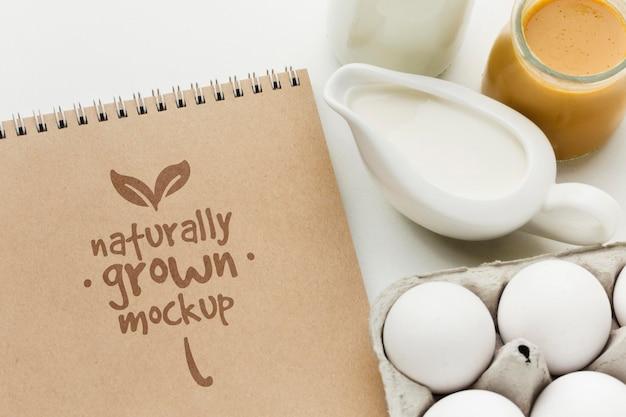 Vista superior do arranjo de leite e ovos