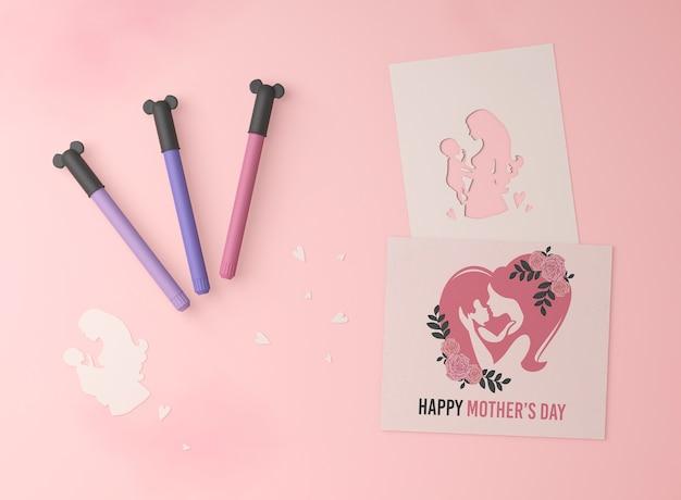Vista superior do cartão do dia das mães com maquete