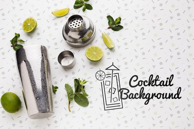 Vista superior do conceito de mock-up cocktail