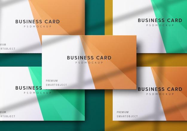 Vista superior do conjunto de design de maquete de cartão de visita