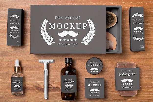 Vista superior do conjunto de produtos para cuidados com a barba
