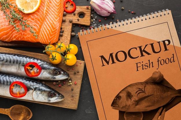 Vista superior do delicioso arranjo de comida de peixe