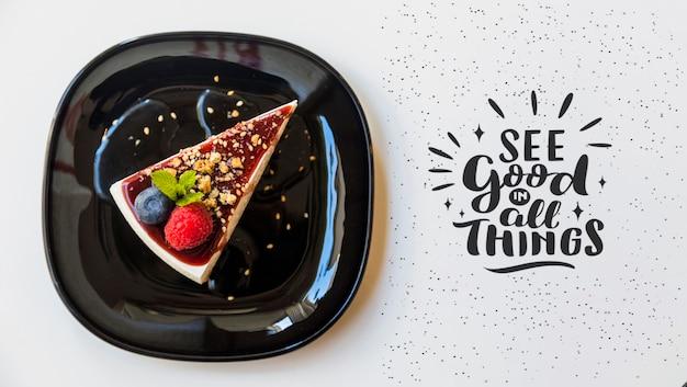 Vista superior do delicioso cheesecake