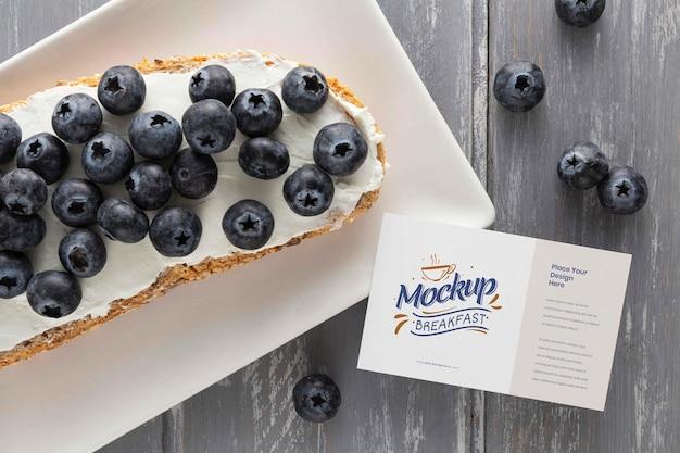 Vista superior do design da maquete de café da manhã saudável