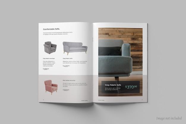 Vista superior do folheto aberto ou modelo da capa do catálogo