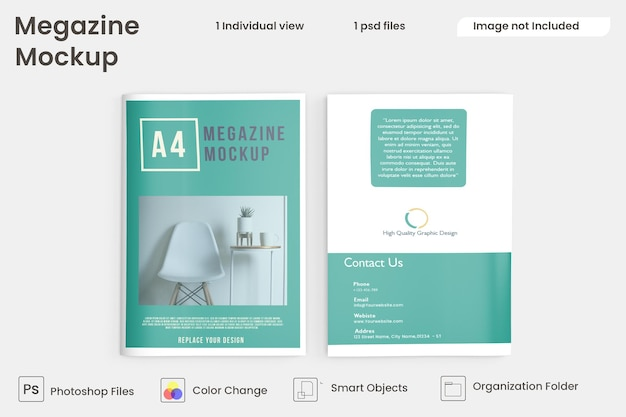 Vista superior do folheto e maquetes do catálogo premium psd