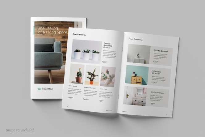 Vista superior do folheto e modelos de catálogo