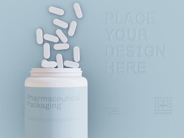 Vista superior do frasco de comprimidos e maquete de comprimidos