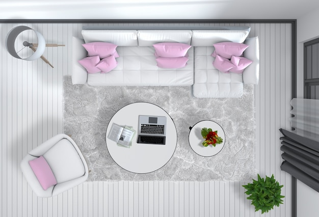 Vista superior do interior da sala de estar moderna em renderização 3d