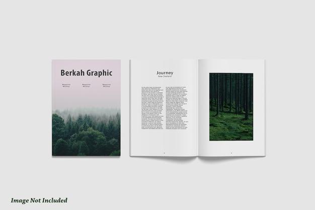 Vista superior do magazin ou brochura e maquete da capa premium psd