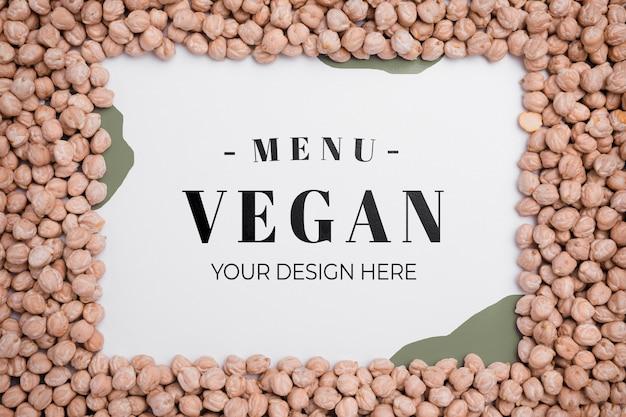 Vista superior do menu vegan com conceito de grão de bico