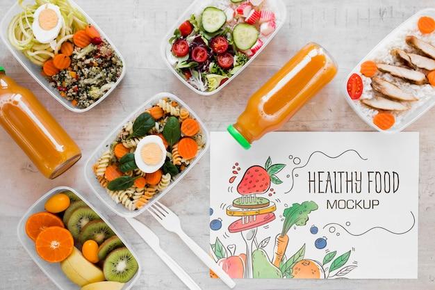 Vista superior do mock-up de comida saudável