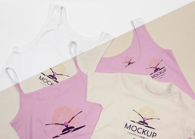 Vista superior do mock-up do conceito de camiseta