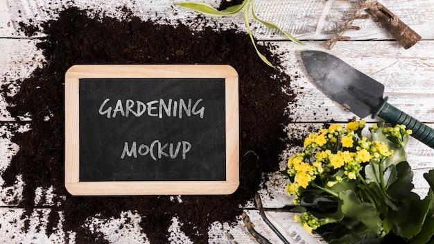 Vista superior do mock-up do conceito de jardinagem