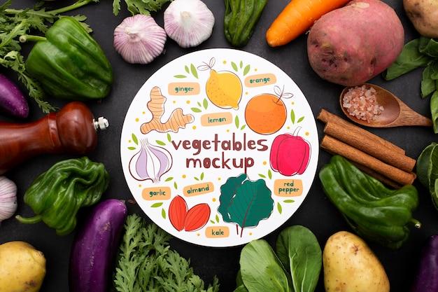 Vista superior do mock-up do conceito de vegetais saudáveis