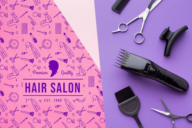 Vista superior do modelo de cabeleireiro mock-up