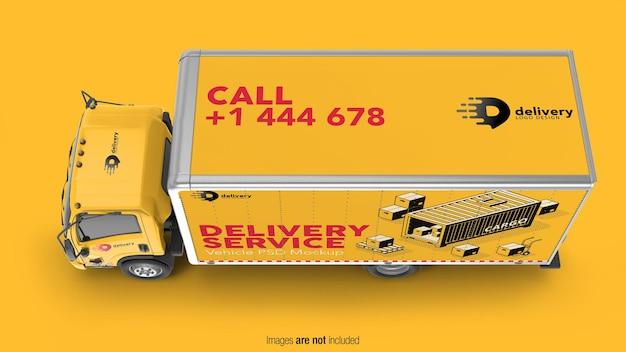 Vista superior do modelo de caminhão de entrega