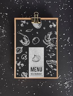 Vista superior do modelo de conceito de menu de comida