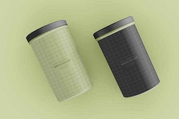 Vista superior do modelo de duas latas