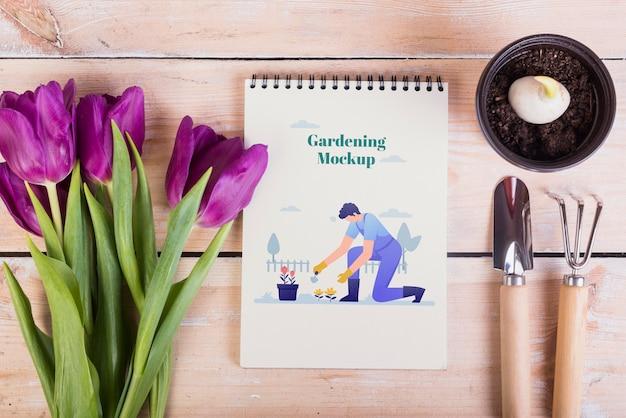 Vista superior do modelo de jardinagem conceito