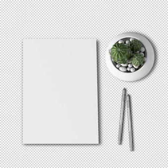 Vista superior do papel a4 e maquete de planta de cacto