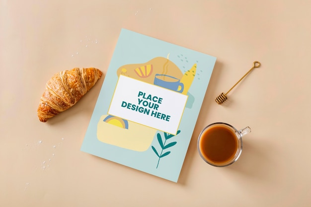 Vista superior do projeto da maquete de livro de culinária perto de doces Psd Premium