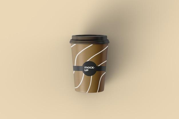 Vista superior do projeto da maquete do copo de café em papel