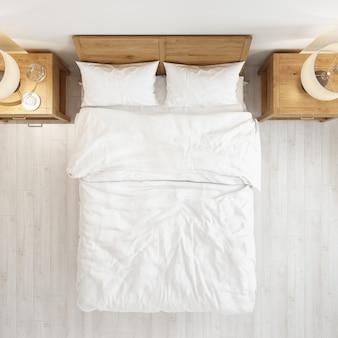 Vista superior do quarto com uma cama e maquete moderna mesa de cabeceira de madeira