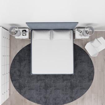 Vista superior do quarto moderno